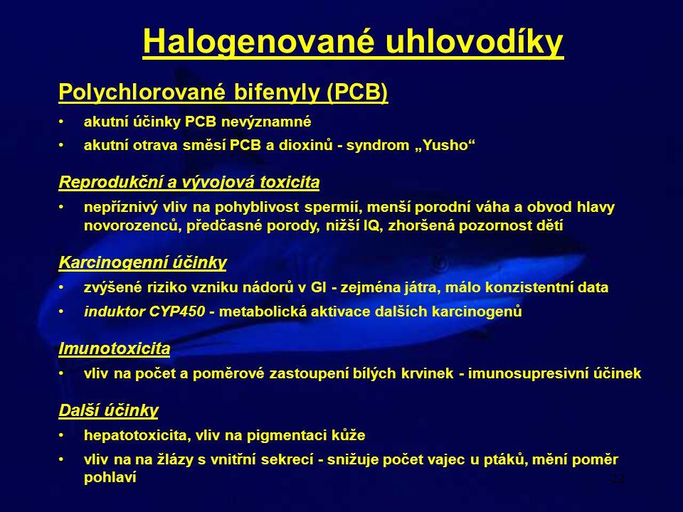 """22 Halogenované uhlovodíky akutní účinky PCB nevýznamné akutní otrava směsí PCB a dioxinů - syndrom """"Yusho"""" Reprodukční a vývojová toxicita nepříznivý"""