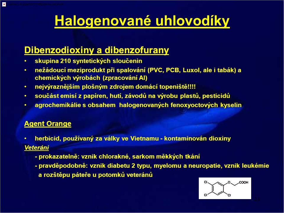 23 Dibenzodioxiny a dibenzofurany Halogenované uhlovodíky Dibenzodioxiny a dibenzofurany skupina 210 syntetických sloučenin nežádoucí meziprodukt při