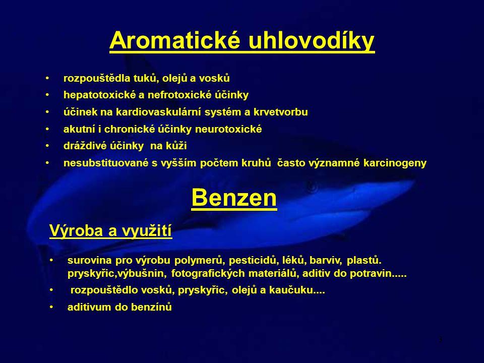 4 Benzen Toxikokinetika absorpce při inhalační expozici 80 %, GI expozici 95 % (zvířata) a transdermálně 22 - 36 % depozice v játrech, ledvinách, břišním tuku, mozku, kostní dřeni, placenta hlavní část metabolismu v játrech, také v kostní dřeni indukce vlastního metabolismu nemetabolizovaný benzen eliminován ve vydechovaném vzduchu (asi 17 %), metabolizovaný v moči Toxické účinky Kostní dřeň poškození kmenových buněk v kostní dřeni - akutní i chronická intoxikace leukopenie - nedostatek bílých krvinek - nebezpečí infekcí trombocytopenie - nedostatek krevních destiček - špatná srážlivost krve aplastická anemie - nedostatek červených krvinek - vliv na přenos kyslíku Reaktivní metabolity benzenu atakující biomolekuly benzenoxid p - benzochinon mukonaldehyd epoxid tranns - dihydrokatecholu Biotransformace benzenu
