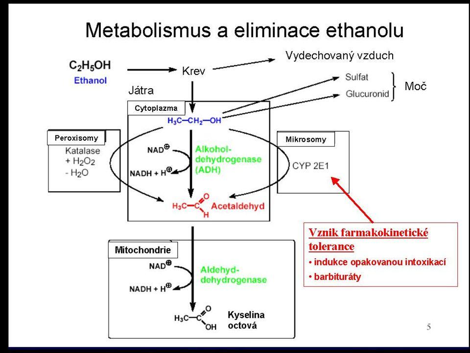 """10 Ethanol (CH 3 CH 2 OH ) tolerance - farmakokinetická (indukce monooxigenázového systému) psychická závislost zvýšené riziko vzniku nádoru - indukce CYP 450 Teratogenní účinky fetální alkoholový syndrom - mentální i fyzická retardace dítěte hlavní riziko v počátečním stadiu těhotenství Chronické účinky """"Fatty liver , cirhóza jater, hepatitická encefalopatie chronické poškození CNS –nekróza neuronů - zhoršené vstřebávání vitamínu B 1 (Thiamin), oxidativní stres (peroxidace lipidů) –delirium tremens Alkoholismus způsobuje cirhosu jater a poškození mozku Látky blokující aldehyd-dehydrogenázu se dají použít k léčení alkoholizmu Disulfiram Hnojník nebo Hník inkoustový (Coprinus atramentarius)"""