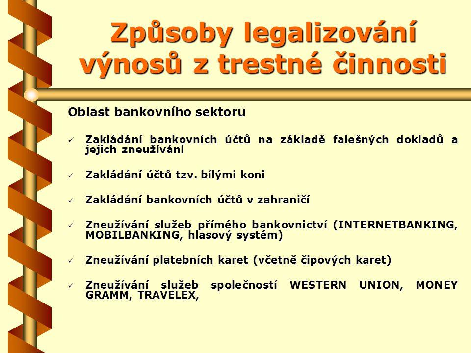 Způsoby legalizování výnosů z trestné činnosti Oblast bankovního sektoru Zakládání bankovních účtů na základě falešných dokladů a jejich zneužívání Zakládání bankovních účtů na základě falešných dokladů a jejich zneužívání Zakládání účtů tzv.