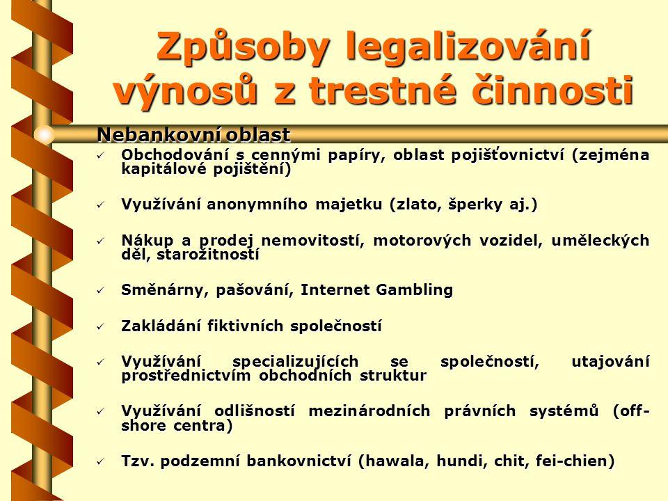Způsoby legalizování výnosů z trestné činnosti Nebankovní oblast Obchodování s cennými papíry, oblast pojišťovnictví (zejména kapitálové pojištění) Obchodování s cennými papíry, oblast pojišťovnictví (zejména kapitálové pojištění) Využívání anonymního majetku (zlato, šperky aj.) Využívání anonymního majetku (zlato, šperky aj.) Nákup a prodej nemovitostí, motorových vozidel, uměleckých děl, starožitností Nákup a prodej nemovitostí, motorových vozidel, uměleckých děl, starožitností Směnárny, pašování, Internet Gambling Směnárny, pašování, Internet Gambling Zakládání fiktivních společností Zakládání fiktivních společností Využívání specializujících se společností, utajování prostřednictvím obchodních struktur Využívání specializujících se společností, utajování prostřednictvím obchodních struktur Využívání odlišností mezinárodních právních systémů (off- shore centra) Využívání odlišností mezinárodních právních systémů (off- shore centra) Tzv.