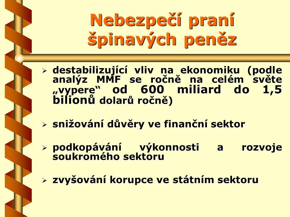 Hlavní zdroje nezákonných zisků 1) Obchodování s drogami 2) Další formy organizovaného zločinu (vydírání, prostituce, nezákonný obchod se zbraněmi a lidmi, nezákonné hazardní hry) 3) Finanční a hospodářská kriminalita (včetně trestné činnosti daňové) V ČR je hlavním zdrojem finanční a ekonomická kriminalita.