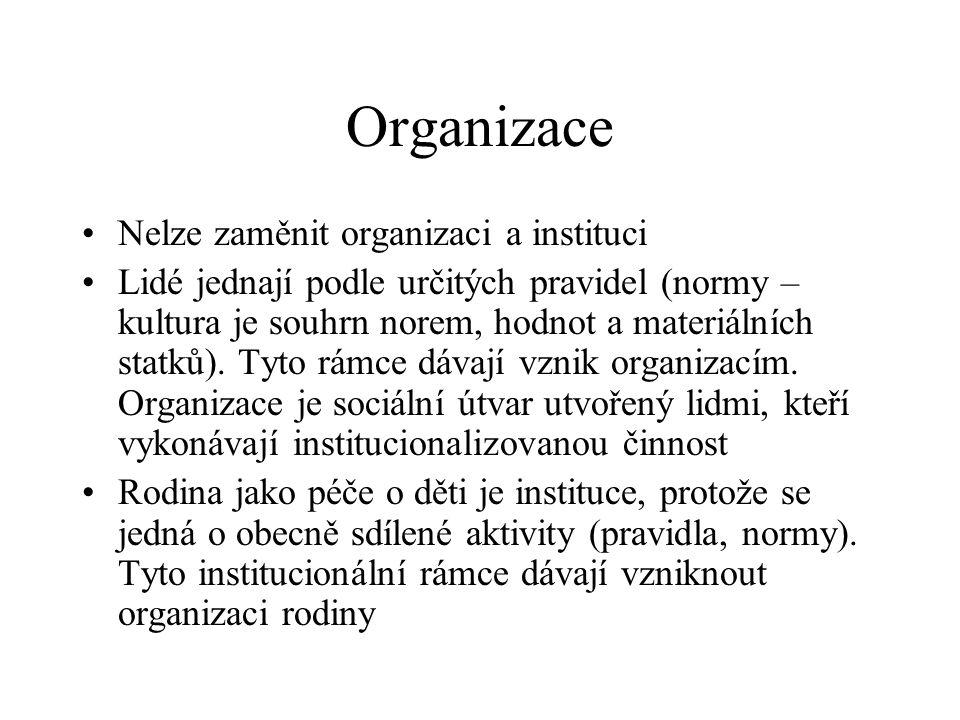 Organizace Nelze zaměnit organizaci a instituci Lidé jednají podle určitých pravidel (normy – kultura je souhrn norem, hodnot a materiálních statků).