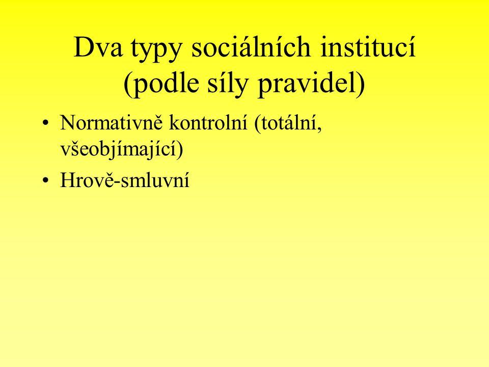 Dva typy sociálních institucí (podle síly pravidel) Normativně kontrolní (totální, všeobjímající) Hrově-smluvní