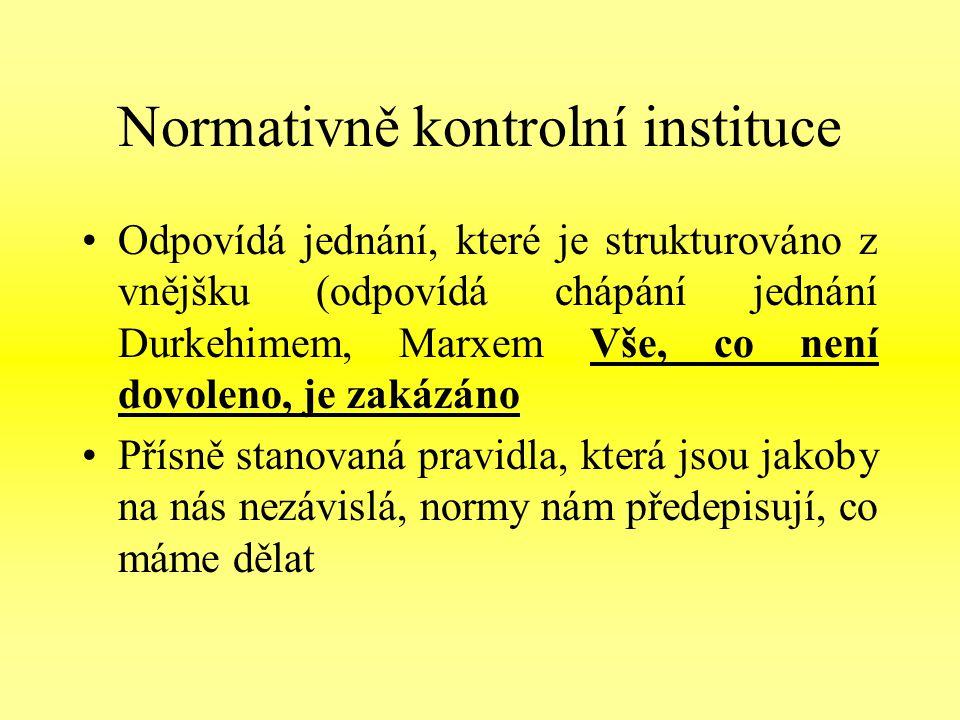 Normativně kontrolní instituce Odpovídá jednání, které je strukturováno z vnějšku (odpovídá chápání jednání Durkehimem, Marxem Vše, co není dovoleno, je zakázáno Přísně stanovaná pravidla, která jsou jakoby na nás nezávislá, normy nám předepisují, co máme dělat