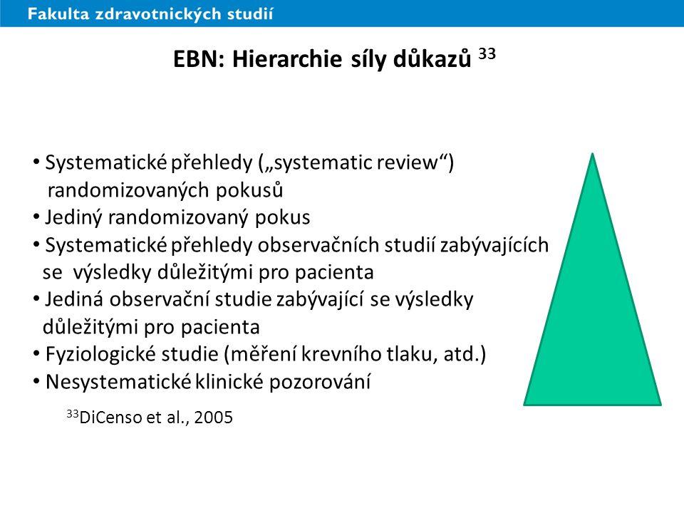 """Systematické přehledy (""""systematic review ) randomizovaných pokusů Jediný randomizovaný pokus Systematické přehledy observačních studií zabývajících se výsledky důležitými pro pacienta Jediná observační studie zabývající se výsledky důležitými pro pacienta Fyziologické studie (měření krevního tlaku, atd.) Nesystematické klinické pozorování 33 DiCenso et al., 2005 EBN: Hierarchie síly důkazů 33"""