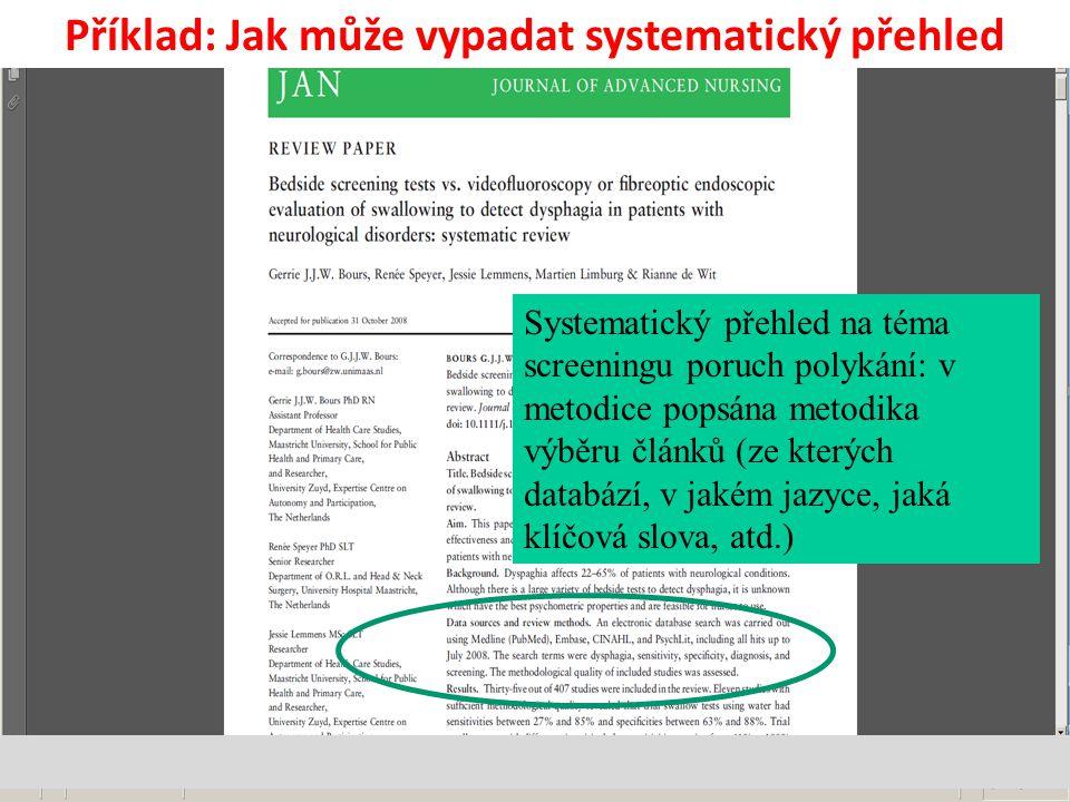 Systematický přehled na téma screeningu poruch polykání: v metodice popsána metodika výběru článků (ze kterých databází, v jakém jazyce, jaká klíčová slova, atd.) Příklad: Jak může vypadat systematický přehled