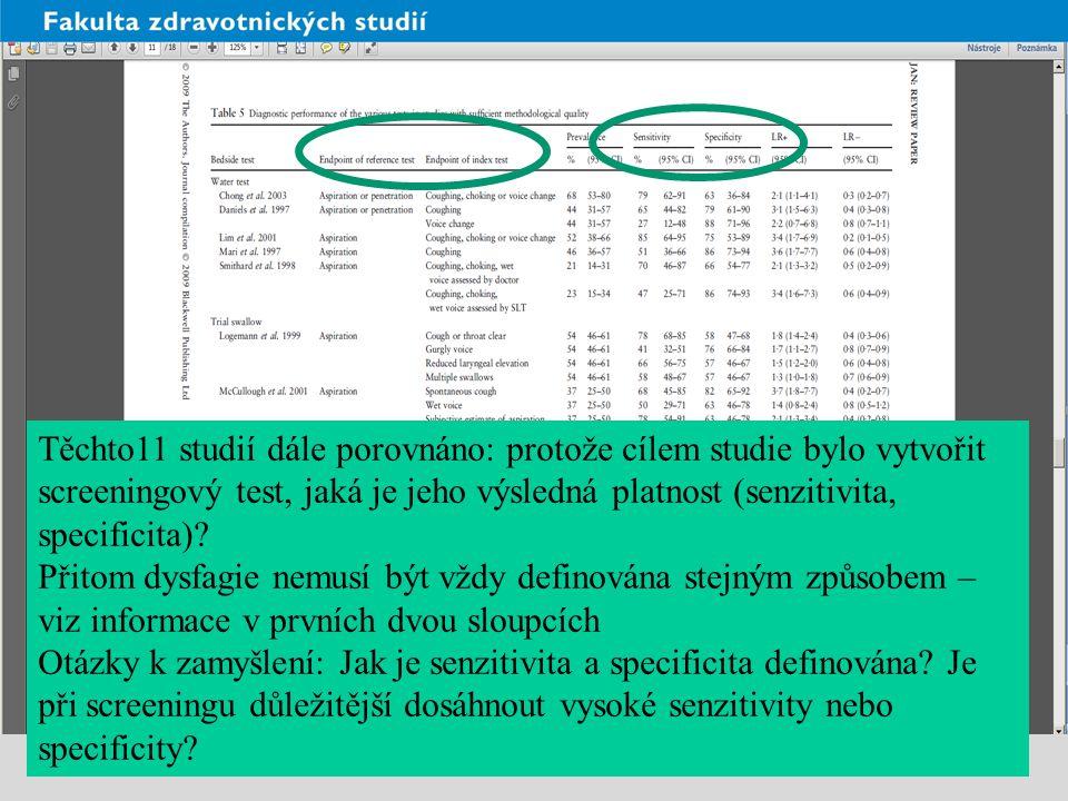 Těchto11 studií dále porovnáno: protože cílem studie bylo vytvořit screeningový test, jaká je jeho výsledná platnost (senzitivita, specificita)? Přito