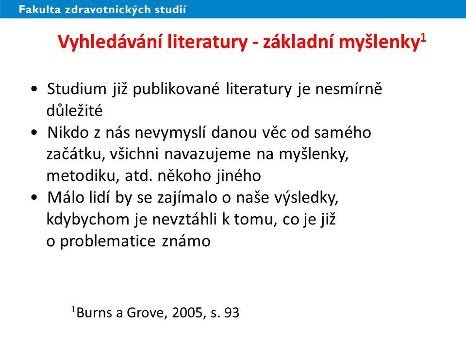 Vyhledávání literatury - základní myšlenky 1 Studium již publikované literatury je nesmírně důležité Nikdo z nás nevymyslí danou věc od samého začátku, všichni navazujeme na myšlenky, metodiku, atd.