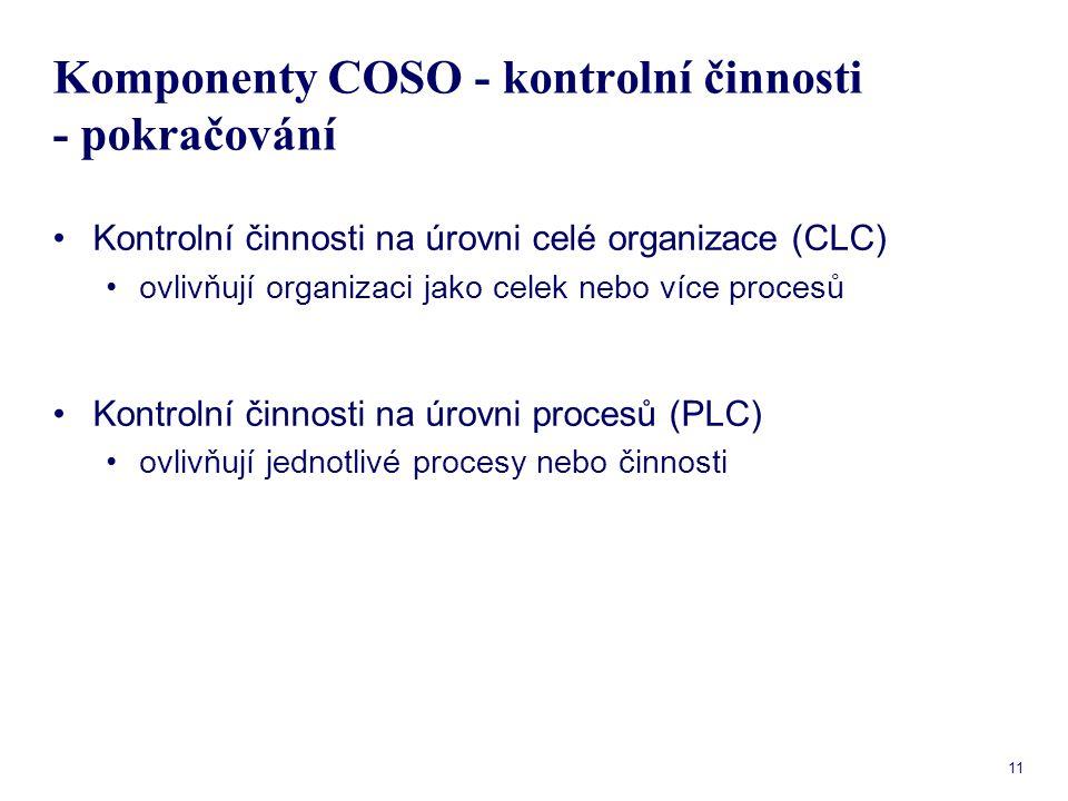 11 Komponenty COSO - kontrolní činnosti - pokračování Kontrolní činnosti na úrovni celé organizace (CLC) ovlivňují organizaci jako celek nebo více pro