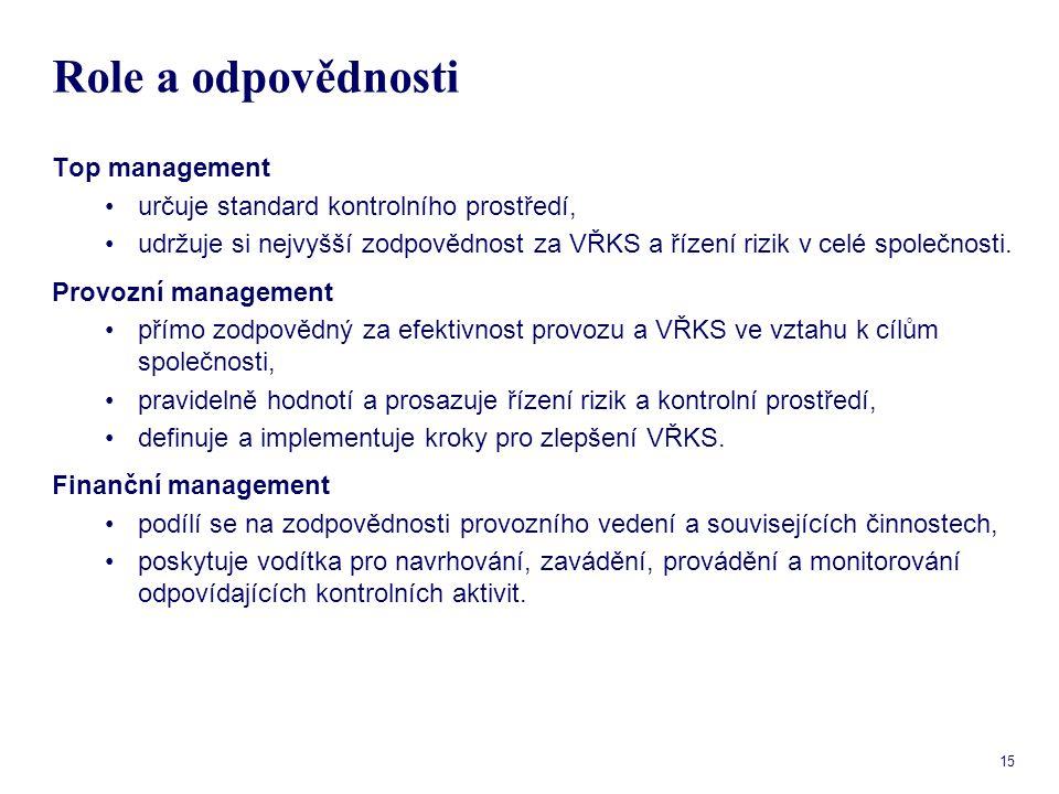 15 Role a odpovědnosti Top management určuje standard kontrolního prostředí, udržuje si nejvyšší zodpovědnost za VŘKS a řízení rizik v celé společnost