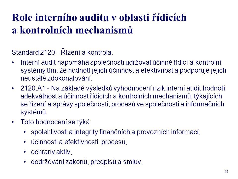 18 Role interního auditu v oblasti řídicích a kontrolních mechanismů Standard 2120 - Řízení a kontrola. Interní audit napomáhá společnosti udržovat úč