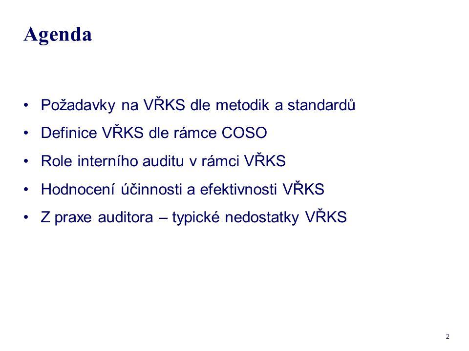 13 Komponenty COSO – monitorování Monitorování - zjišťuje dohled nad VŘKS; ověřuje, že kontrolní činnosti jsou správně navrženy a efektivně prováděny.