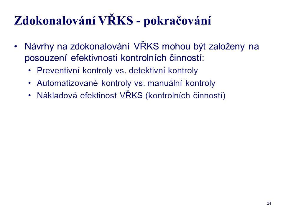 24 Zdokonalování VŘKS - pokračování Návrhy na zdokonalování VŘKS mohou být založeny na posouzení efektivnosti kontrolních činností: Preventivní kontro