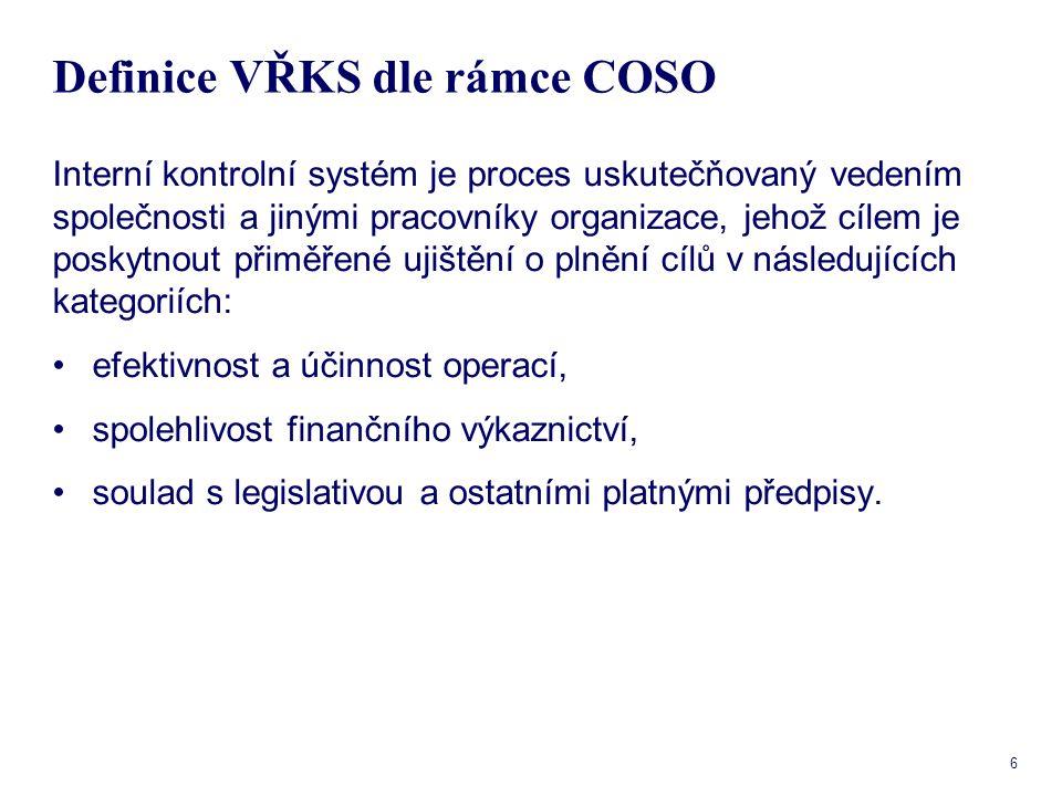 7 Definice VŘKS dle rámce COSO Dle COSO se VŘKS skládá z pěti vzájemně provázaných komponent, které dohromady tvoří integrovaný rámec.