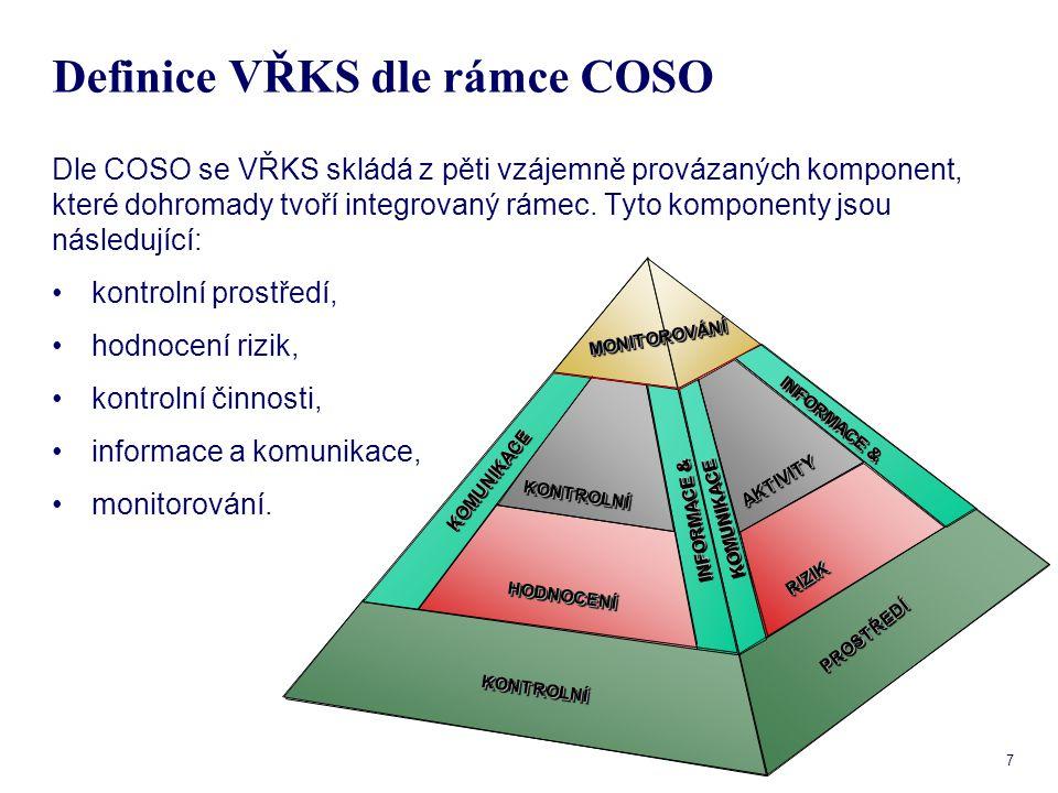 8 Komponenty COSO - kontrolní prostředí Kontrolní prostředí - zahrnuje celkový přístup vedení k řízení organizace - firemní kulturu.