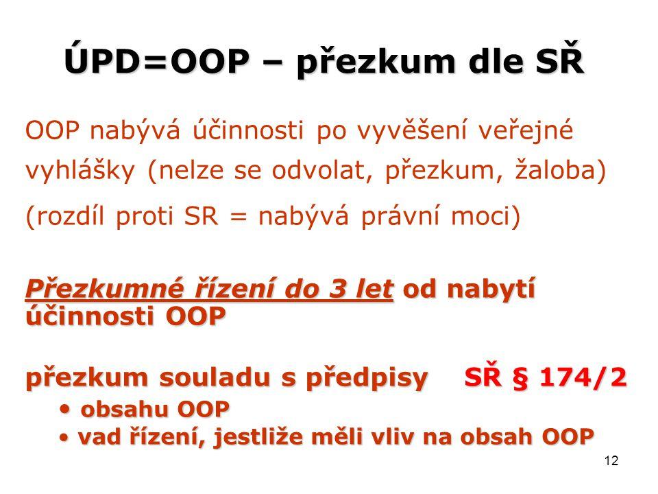 12 ÚPD=OOP – přezkum dle SŘ OOP nabývá účinnosti po vyvěšení veřejné vyhlášky (nelze se odvolat, přezkum, žaloba) (rozdíl proti SR = nabývá právní moci) Přezkumné řízení do 3 let od nabytí účinnosti OOP přezkum souladu s předpisy SŘ § 174/2 obsahu OOP obsahu OOP vad řízení, jestliže měli vliv na obsah OOP vad řízení, jestliže měli vliv na obsah OOP