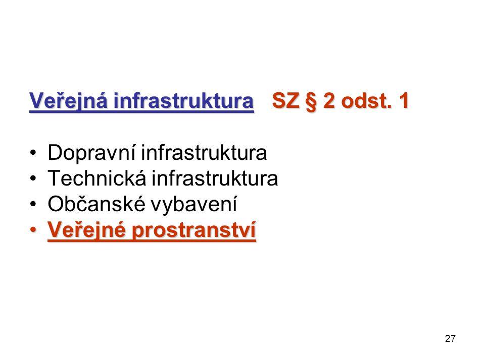 27 Veřejná infrastruktura SZ § 2 odst. 1 Dopravní infrastruktura Technická infrastruktura Občanské vybavení Veřejné prostranstvíVeřejné prostranství