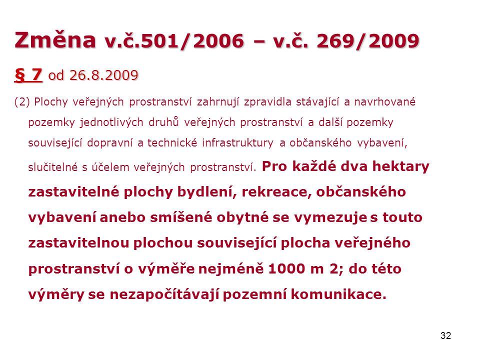 32 Změna v.č.501/2006 –v.č. 269/2009 Změna v.č.501/2006 – v.č. 269/2009 § 7 od 26.8.2009 (2) Plochy veřejných prostranství zahrnují zpravidla stávajíc