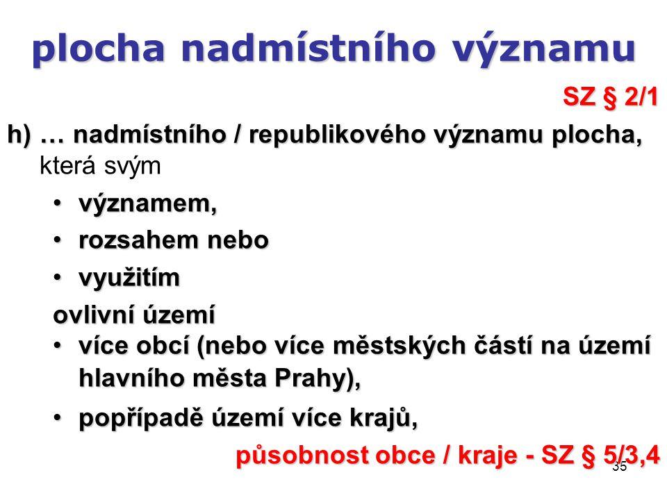 35 plocha nadmístního významu SZ § 2/1 h)… nadmístního / republikového významu plocha, h)… nadmístního / republikového významu plocha, která svým významem,významem, rozsahem neborozsahem nebo využitímvyužitím ovlivní území více obcí (nebo více městských částí na území hlavního města Prahy),více obcí (nebo více městských částí na území hlavního města Prahy), popřípadě území více krajů,popřípadě území více krajů, působnost obce / kraje - SZ § 5/3,4