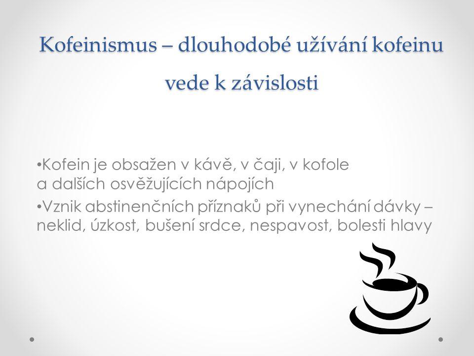 Kofeinismus – dlouhodobé užívání kofeinu vede k závislosti Kofein je obsažen v kávě, v čaji, v kofole a dalších osvěžujících nápojích Vznik abstinenčn