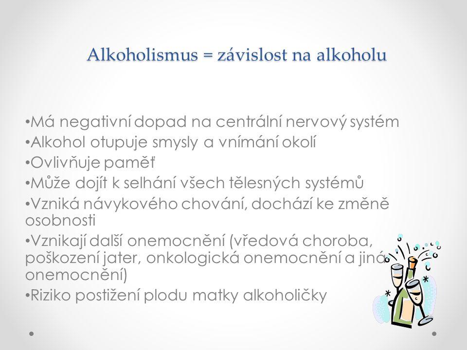 Alkoholismus = závislost na alkoholu Alkoholismus = závislost na alkoholu Má negativní dopad na centrální nervový systém Alkohol otupuje smysly a vním