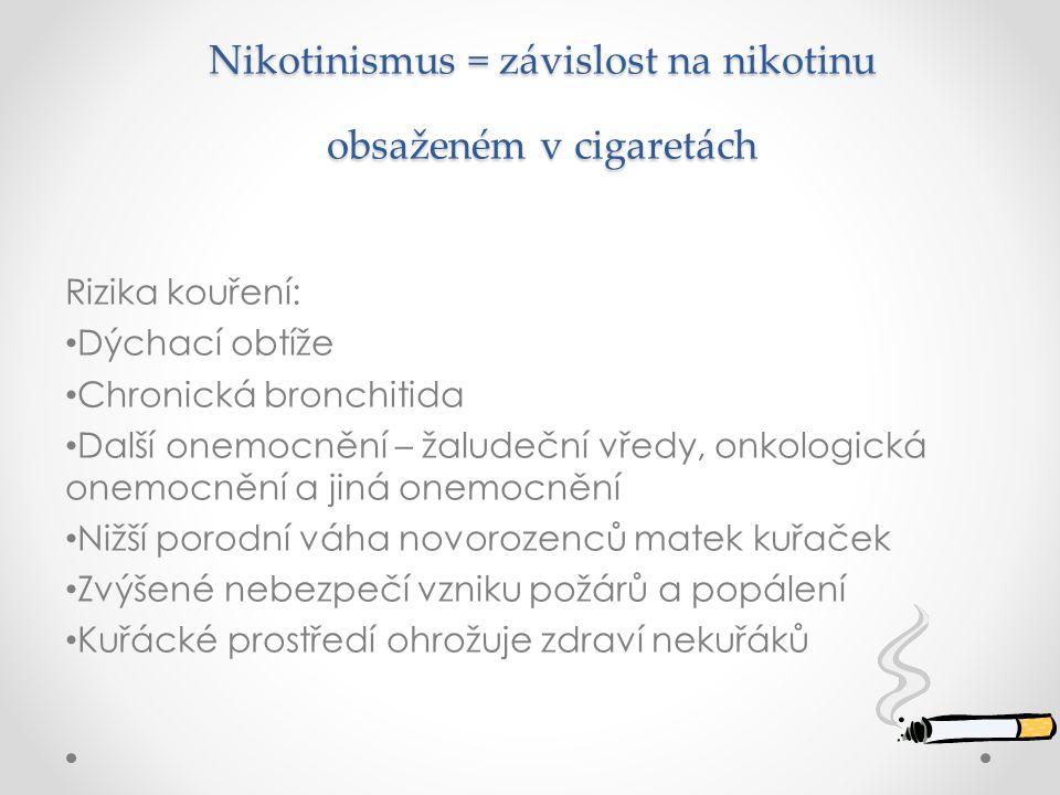 Nikotinismus = závislost na nikotinu obsaženém v cigaretách Nikotinismus = závislost na nikotinu obsaženém v cigaretách Rizika kouření: Dýchací obtíže