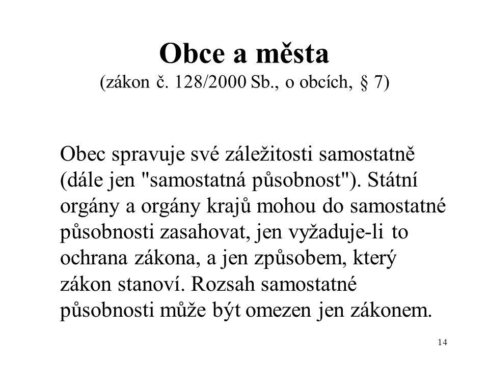 14 Obce a města (zákon č.
