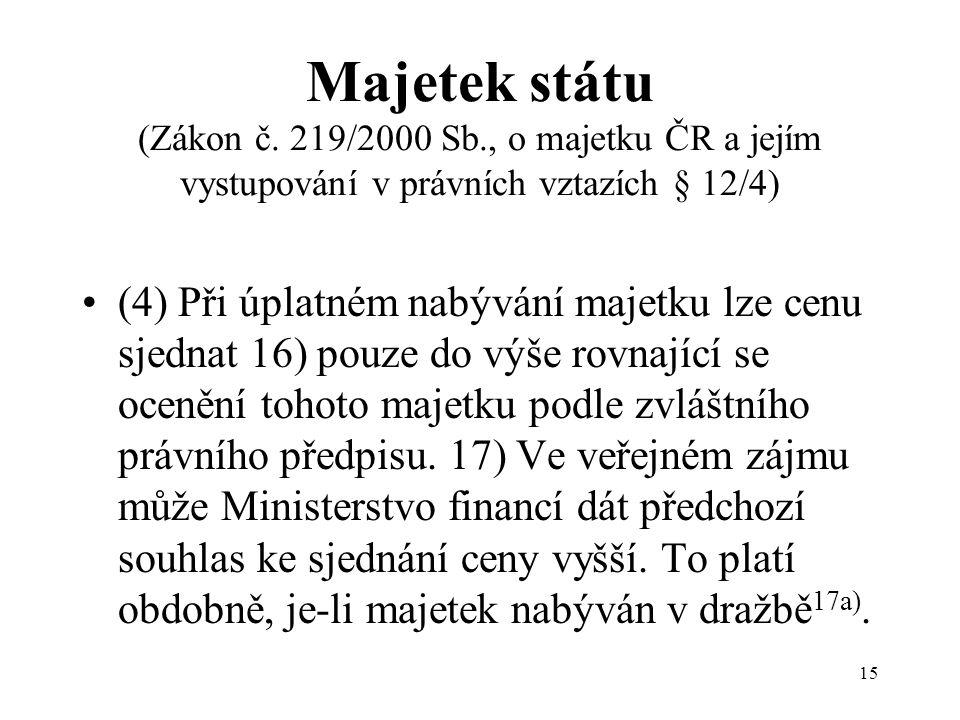 15 Majetek státu (Zákon č.