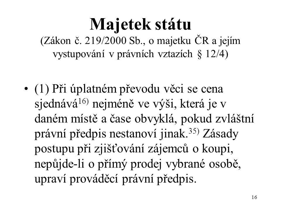 16 Majetek státu (Zákon č.