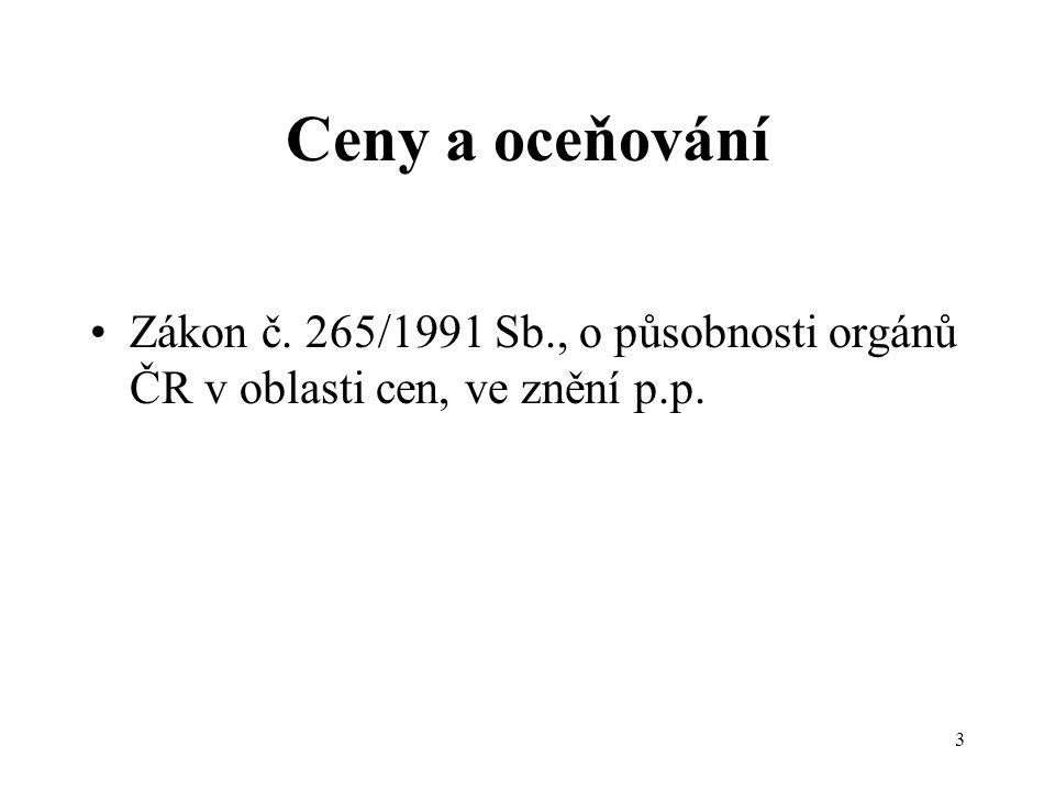 3 Ceny a oceňování Zákon č. 265/1991 Sb., o působnosti orgánů ČR v oblasti cen, ve znění p.p.