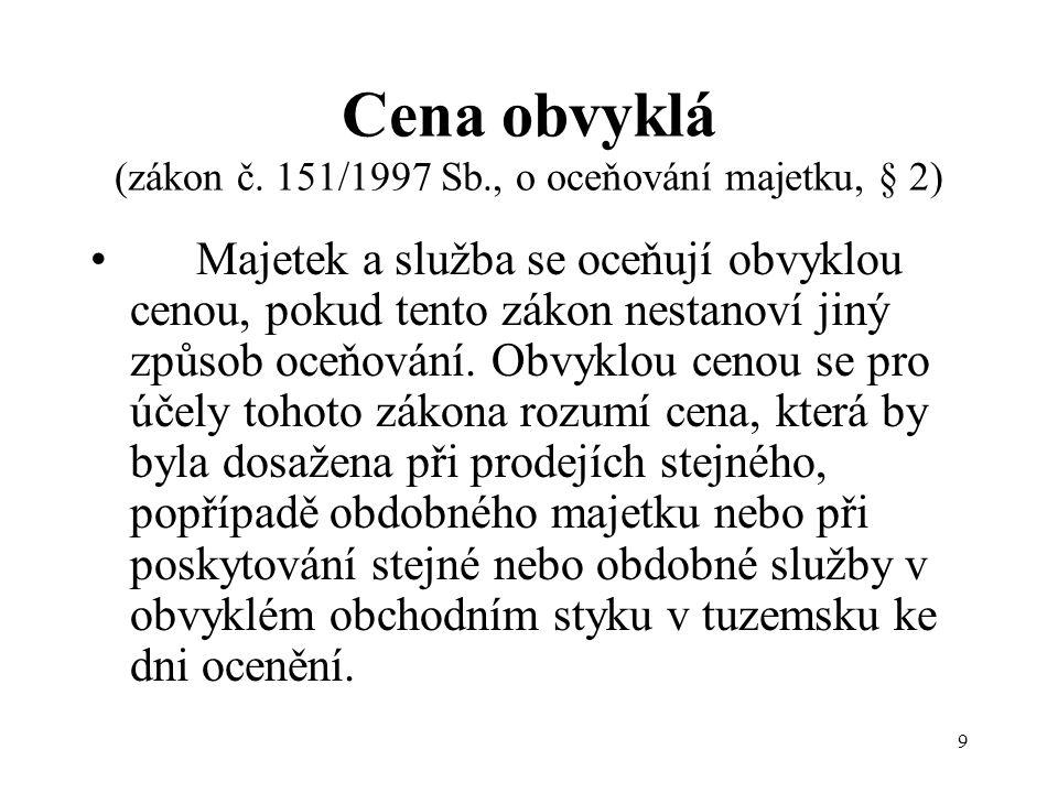 9 Cena obvyklá (zákon č.
