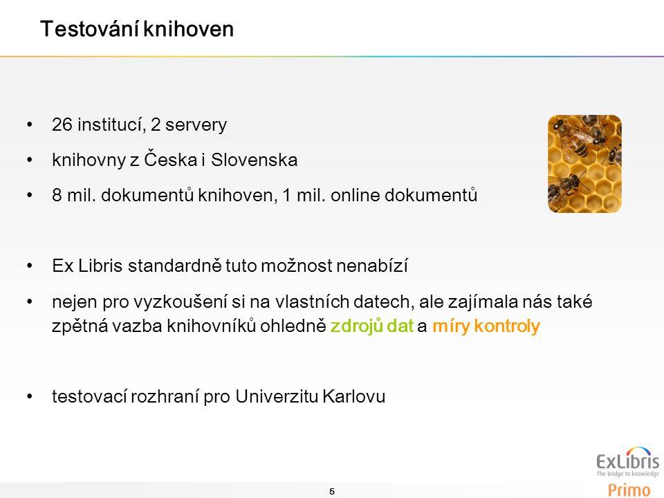 5 Testování knihoven 26 institucí, 2 servery knihovny z Česka i Slovenska 8 mil. dokumentů knihoven, 1 mil. online dokumentů Ex Libris standardně tuto