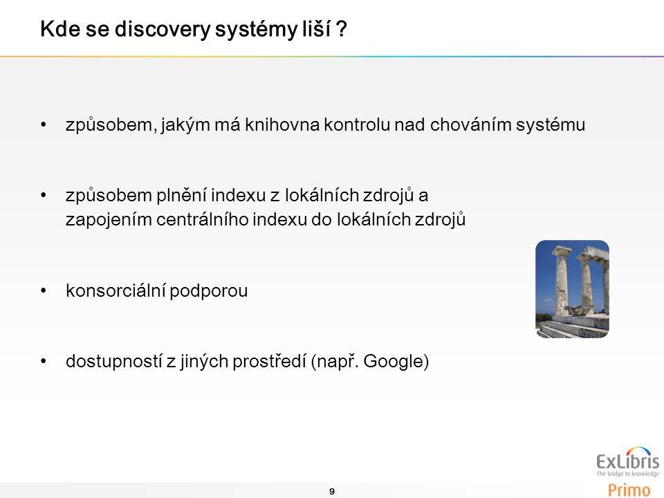 9 Kde se discovery systémy liší ? způsobem, jakým má knihovna kontrolu nad chováním systému způsobem plnění indexu z lokálních zdrojů a zapojením cent