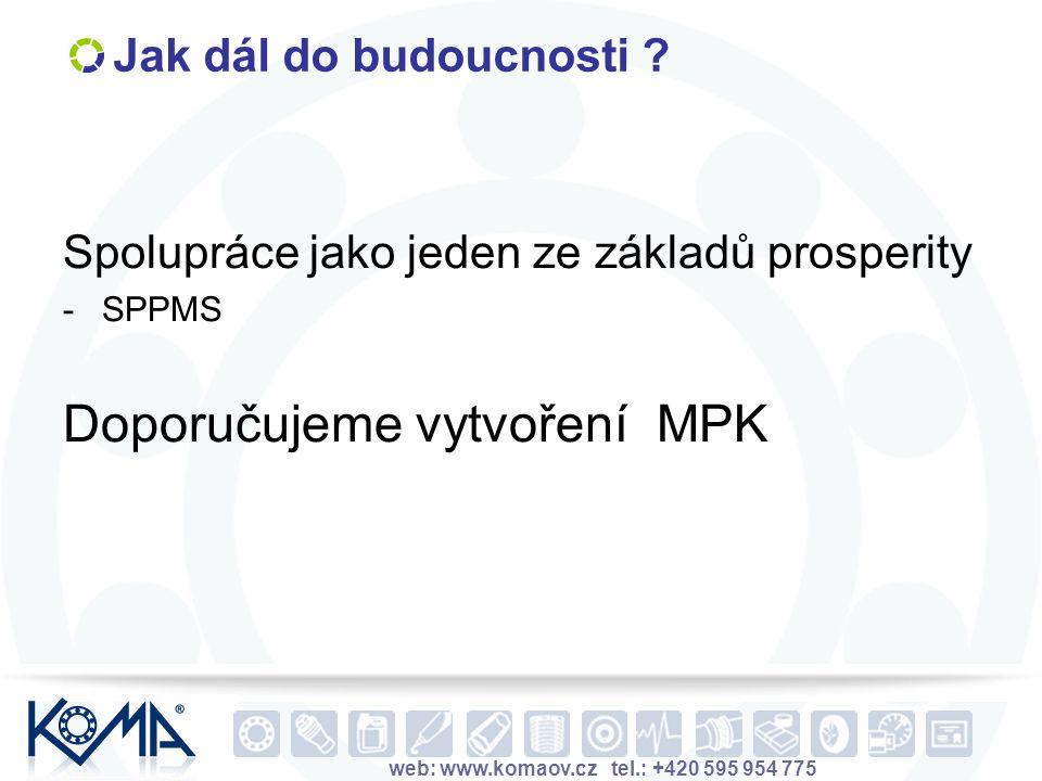 web: www.komaov.cz tel.: +420 595 954 775 Jak dál do budoucnosti ? Spolupráce jako jeden ze základů prosperity -SPPMS Doporučujeme vytvoření MPK