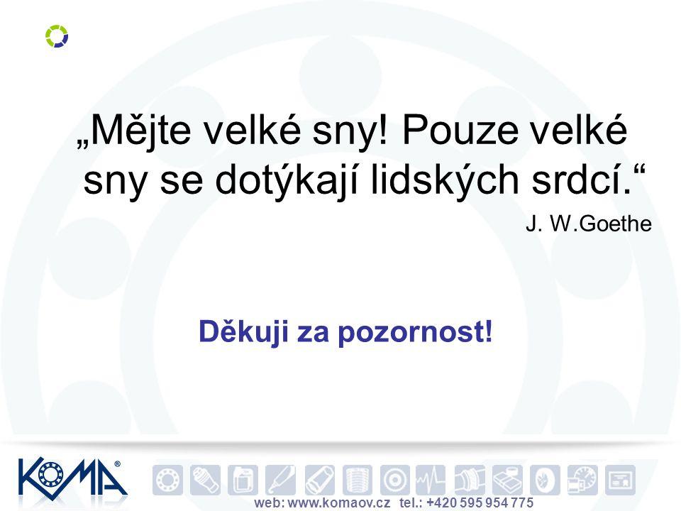 """web: www.komaov.cz tel.: +420 595 954 775 Děkuji za pozornost! """"Mějte velké sny! Pouze velké sny se dotýkají lidských srdcí."""" J. W.Goethe"""