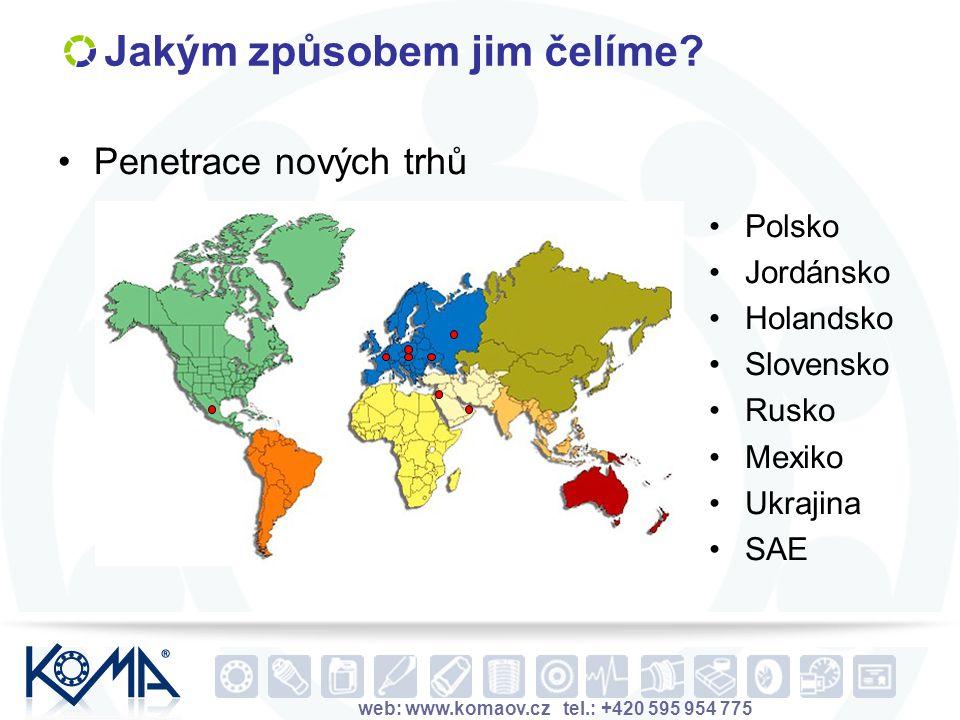 web: www.komaov.cz tel.: +420 595 954 775 Jakým způsobem jim čelíme? Penetrace nových trhů Polsko Jordánsko Holandsko Slovensko Rusko Mexiko Ukrajina