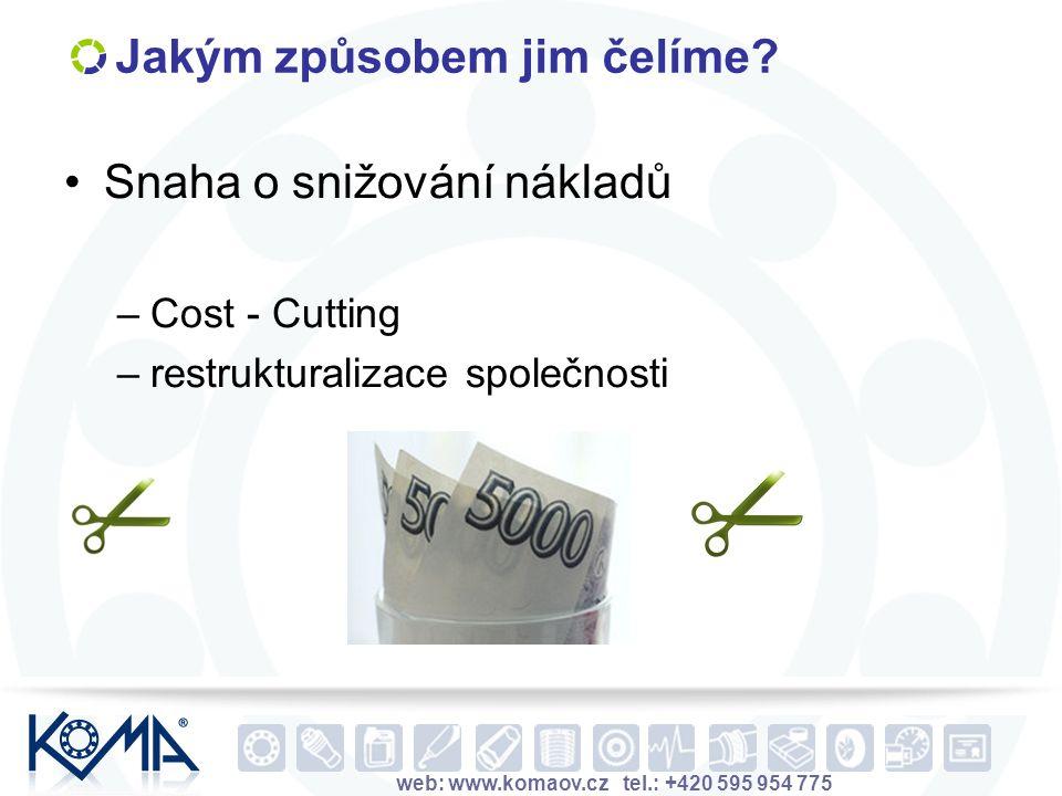 web: www.komaov.cz tel.: +420 595 954 775 Jakým způsobem jim čelíme? Snaha o snižování nákladů –Cost - Cutting –restrukturalizace společnosti