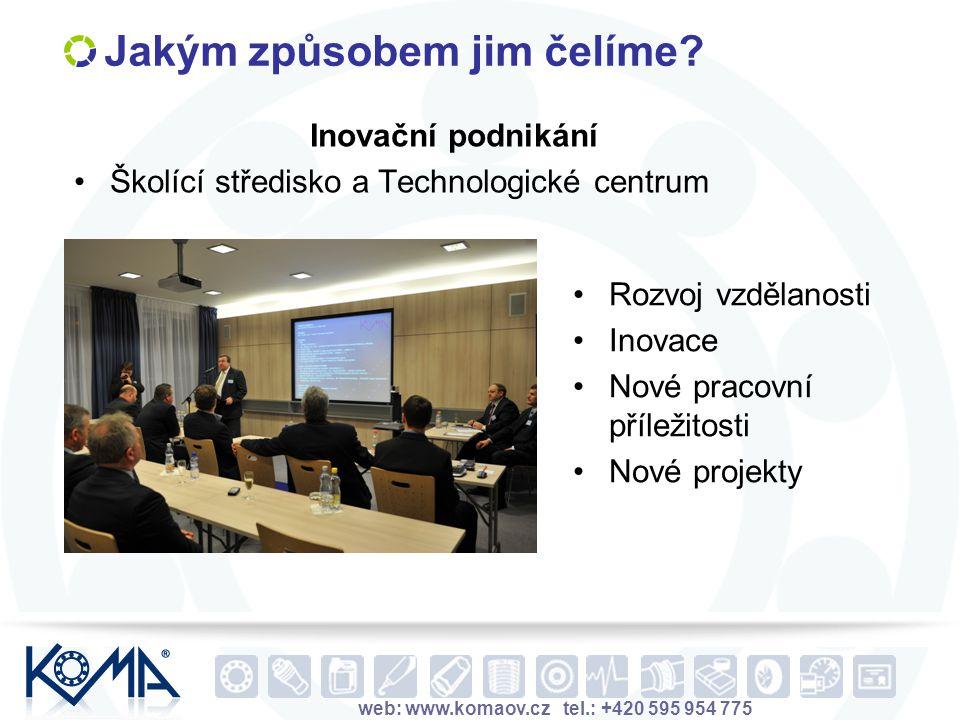 web: www.komaov.cz tel.: +420 595 954 775 Jakým způsobem jim čelíme? Inovační podnikání Školící středisko a Technologické centrum Rozvoj vzdělanosti I