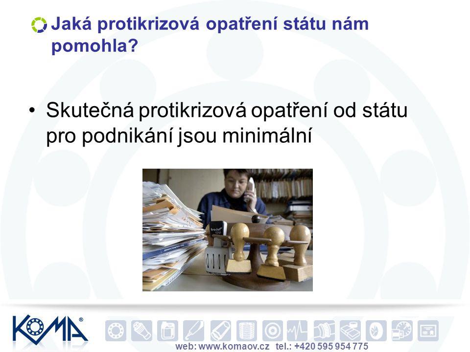 web: www.komaov.cz tel.: +420 595 954 775 Jaká protikrizová opatření státu nám pomohla? Skutečná protikrizová opatření od státu pro podnikání jsou min