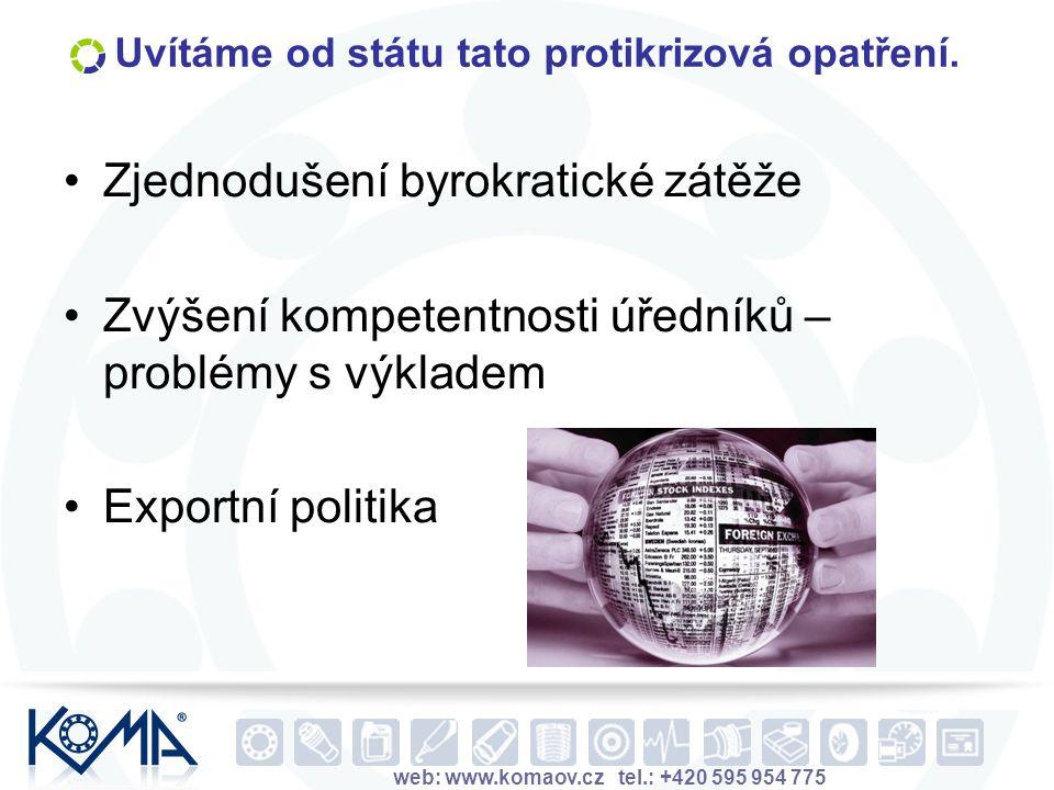 web: www.komaov.cz tel.: +420 595 954 775 Uvítáme od státu tato protikrizová opatření. Zjednodušení byrokratické zátěže Zvýšení kompetentnosti úředník