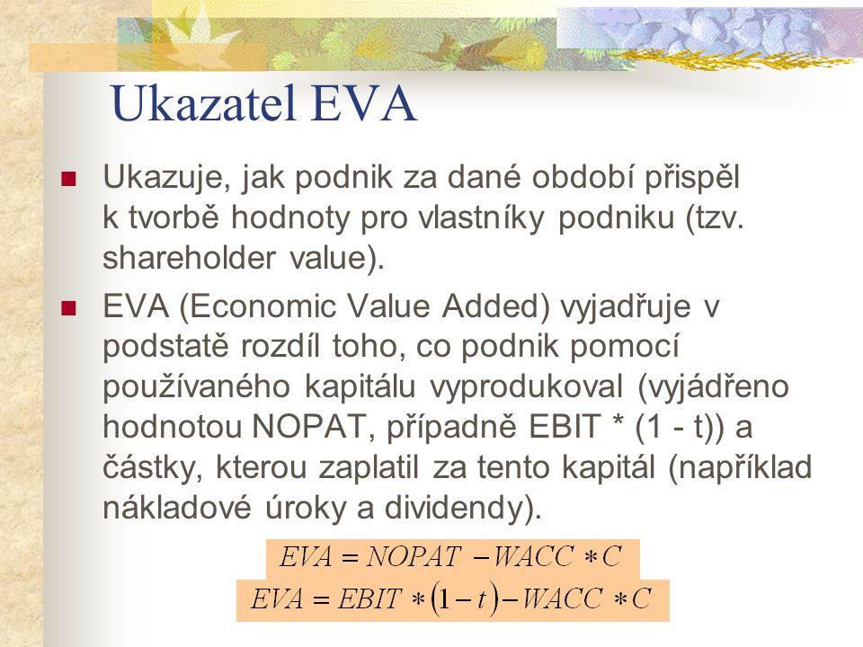 Ukazatel EVA Ukazuje, jak podnik za dané období přispěl k tvorbě hodnoty pro vlastníky podniku (tzv. shareholder value). EVA (Economic Value Added) vy