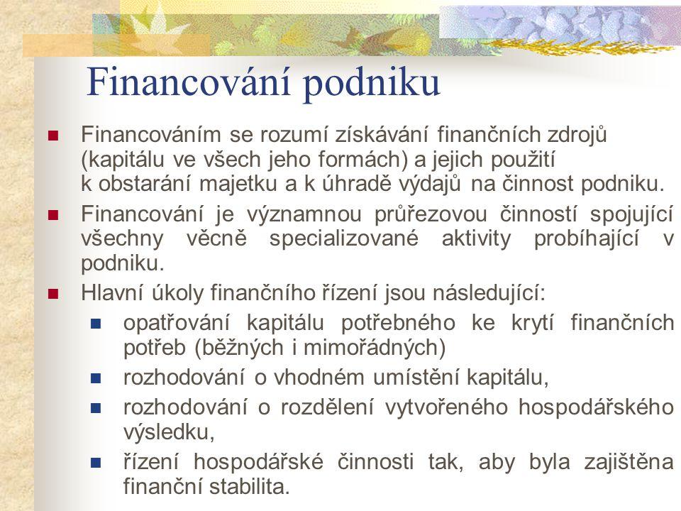 Financováním se rozumí získávání finančních zdrojů (kapitálu ve všech jeho formách) a jejich použití k obstarání majetku a k úhradě výdajů na činnost