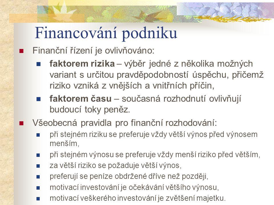 Financování podniku Finanční řízení je ovlivňováno: faktorem rizika – výběr jedné z několika možných variant s určitou pravděpodobností úspěchu, přiče