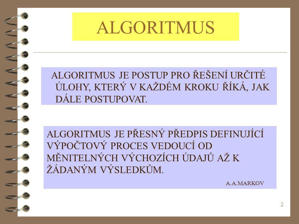 2 ALGORITMUS ALGORITMUS JE POSTUP PRO ŘEŠENÍ URČITÉ ÚLOHY, KTERÝ V KAŽDÉM KROKU ŘÍKÁ, JAK DÁLE POSTUPOVAT.
