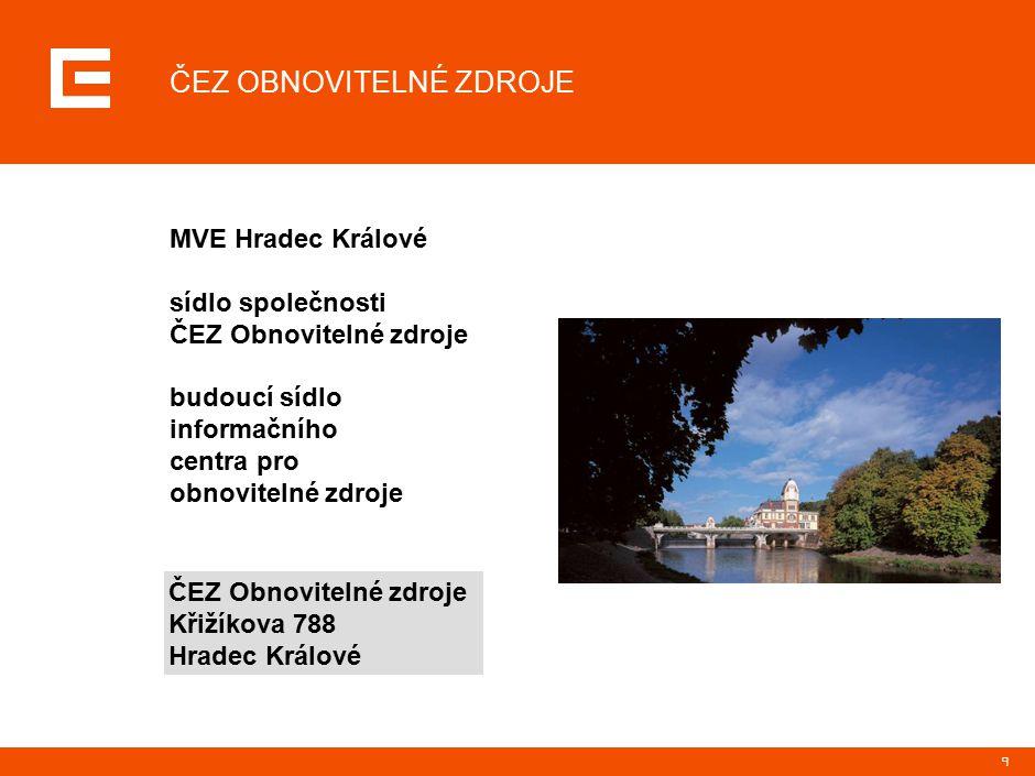 9 MVE Hradec Králové sídlo společnosti ČEZ Obnovitelné zdroje budoucí sídlo informačního centra pro obnovitelné zdroje ČEZ Obnovitelné zdroje Křižíkova 788 Hradec Králové ČEZ OBNOVITELNÉ ZDROJE