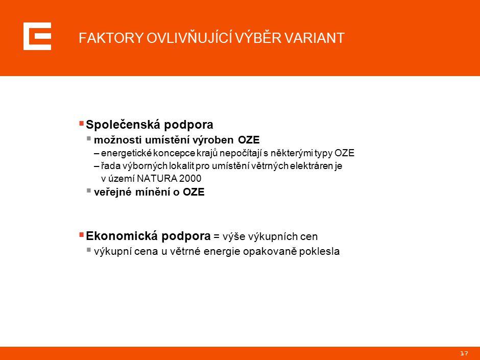 17 FAKTORY OVLIVŇUJÍCÍ VÝBĚR VARIANT  Společenská podpora  možnosti umístění výroben OZE –energetické koncepce krajů nepočítají s některými typy OZE