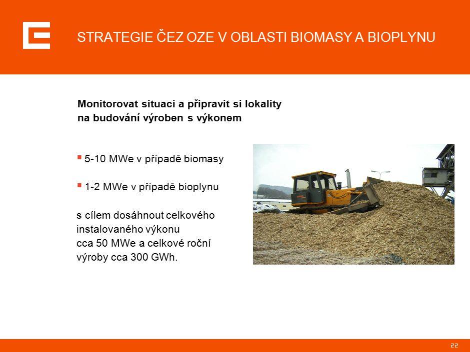 22  5-10 MWe v případě biomasy  1-2 MWe v případě bioplynu s cílem dosáhnout celkového instalovaného výkonu cca 50 MWe a celkové roční výroby cca 30