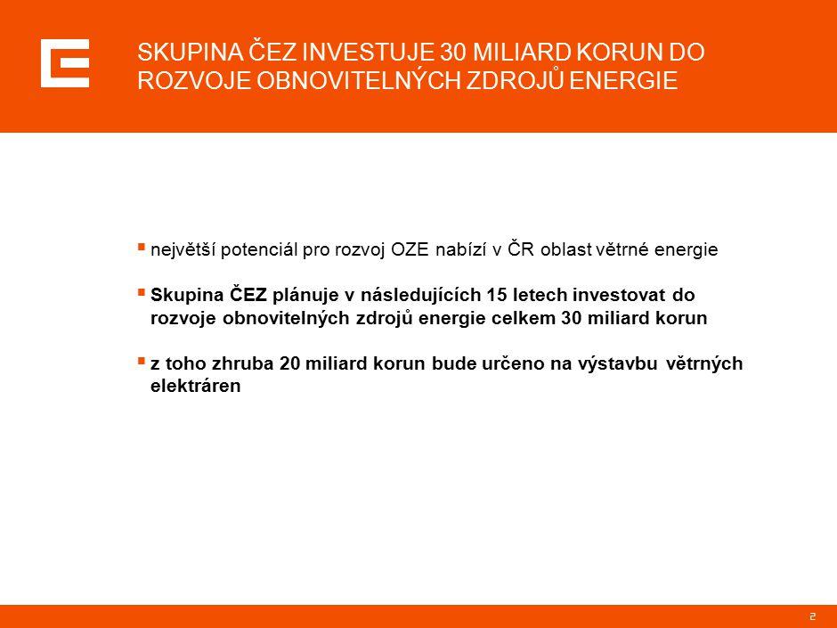 2  největší potenciál pro rozvoj OZE nabízí v ČR oblast větrné energie  Skupina ČEZ plánuje v následujících 15 letech investovat do rozvoje obnovitelných zdrojů energie celkem 30 miliard korun  z toho zhruba 20 miliard korun bude určeno na výstavbu větrných elektráren SKUPINA ČEZ INVESTUJE 30 MILIARD KORUN DO ROZVOJE OBNOVITELNÝCH ZDROJŮ ENERGIE